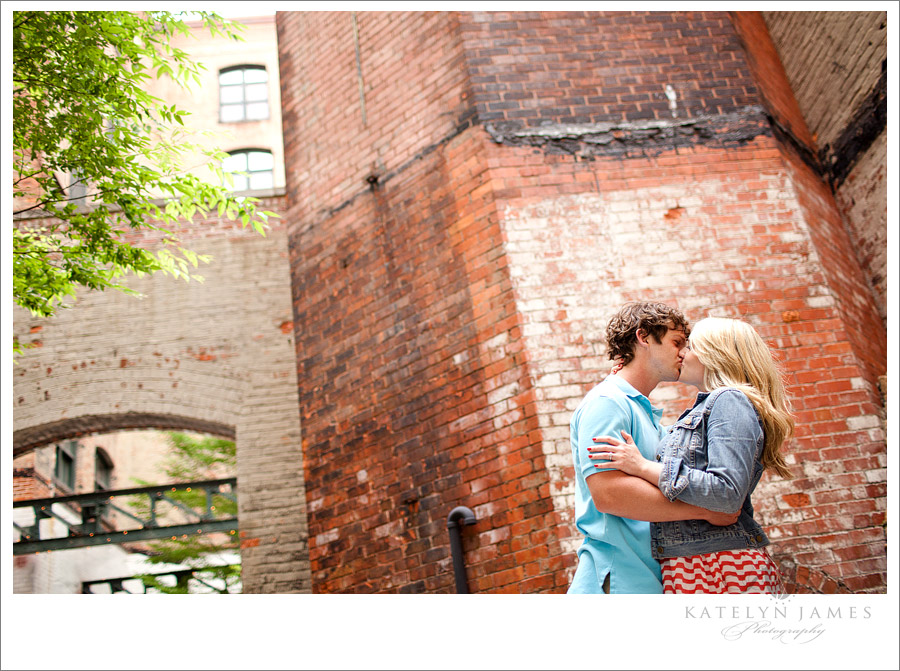 Downtown rustic engagement shoot