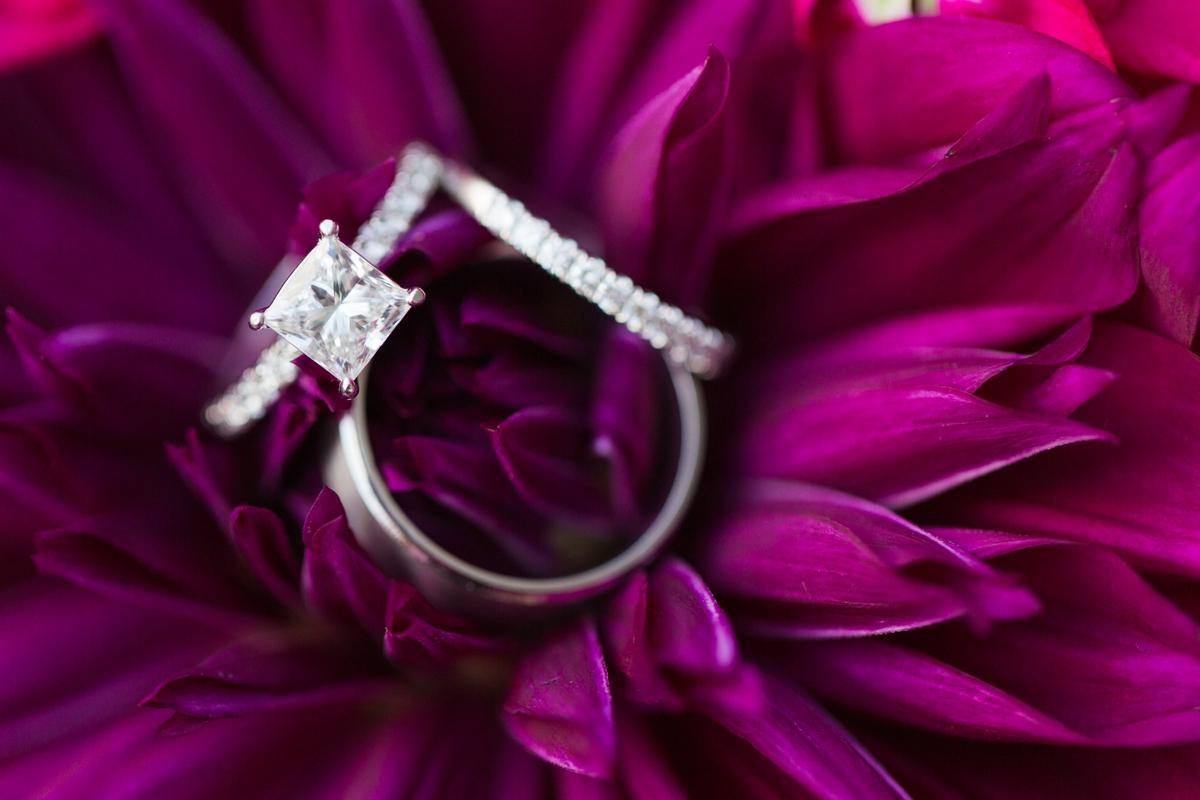 Sangria Wedding Colors, Plum Wedding. Solitaire Square Cut Ring. Diamond Wedding Band.