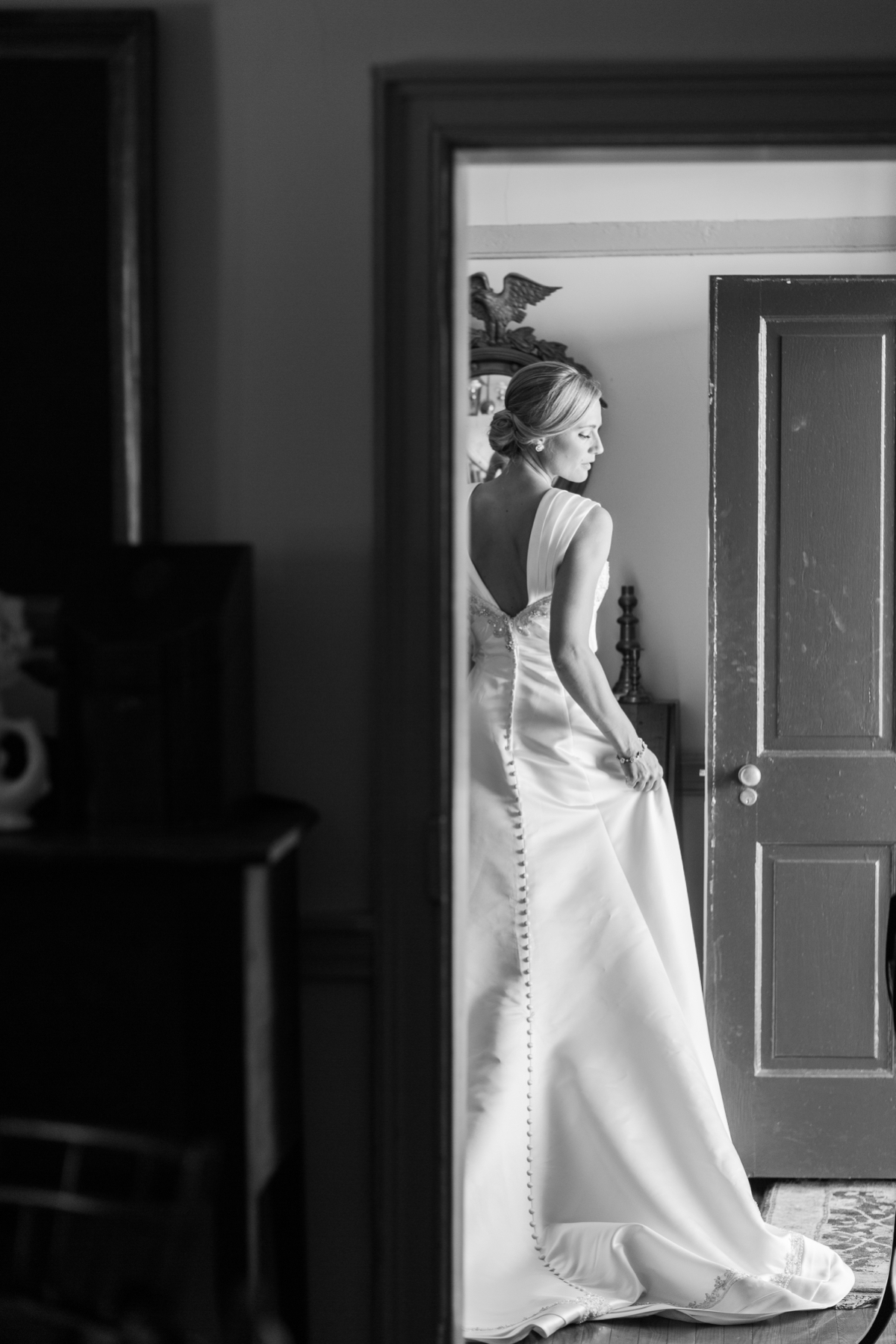 Bridal Dress Portrait. Rustic Barn Wedding .
