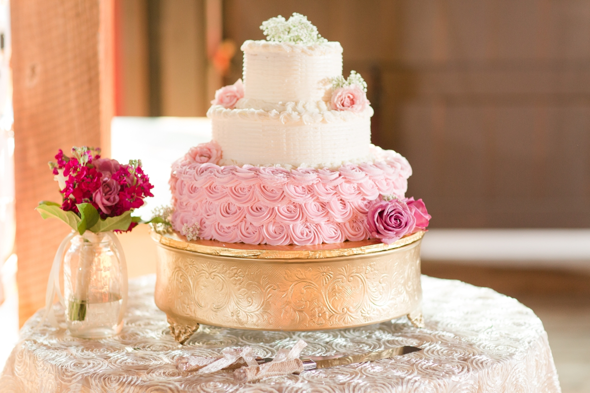 Wedding Cake with Pink Rose Icing. Riverside On the Potomac Barn Wedding Photos.