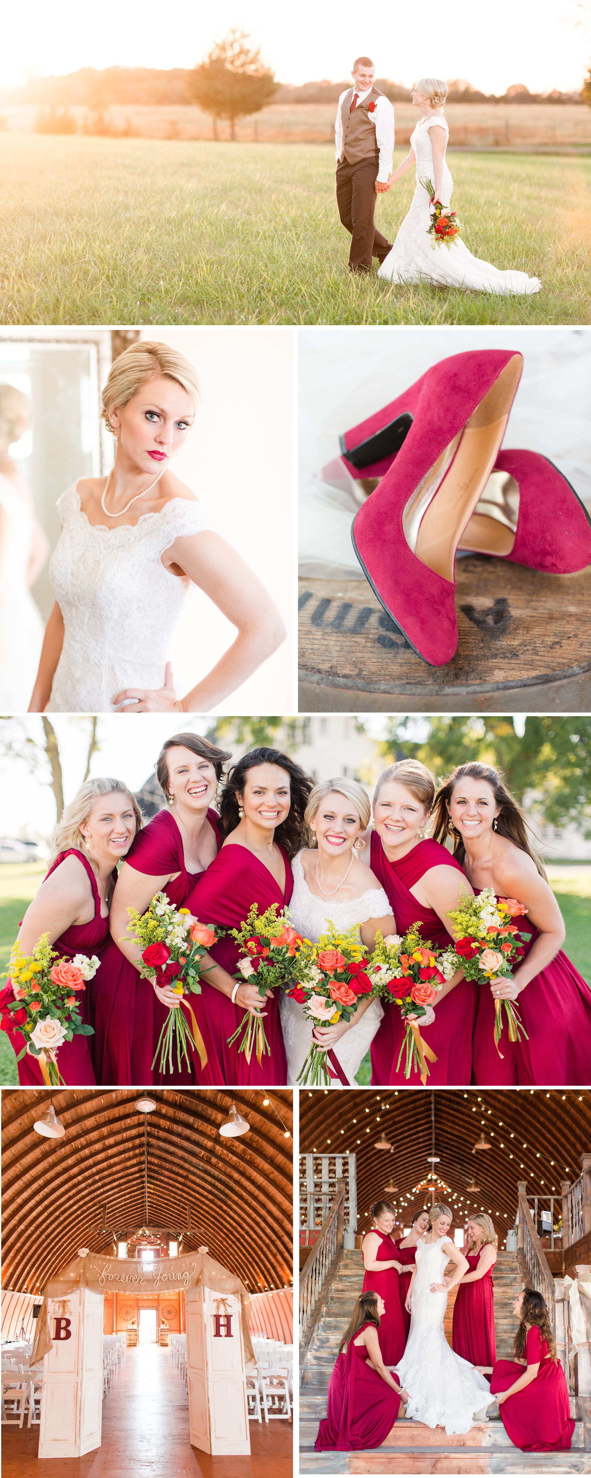 Cranberry Toned Color Palette Wedding with Accents of Gold in Culpeper, Virginia Photographed by Katelyn James Photography