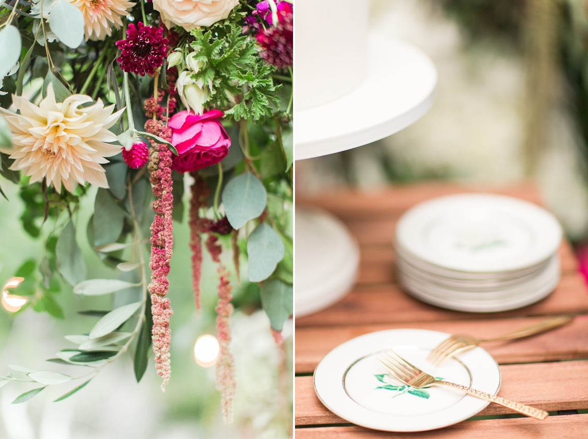 outdoor dinner under the stars with floral chandelier_5669