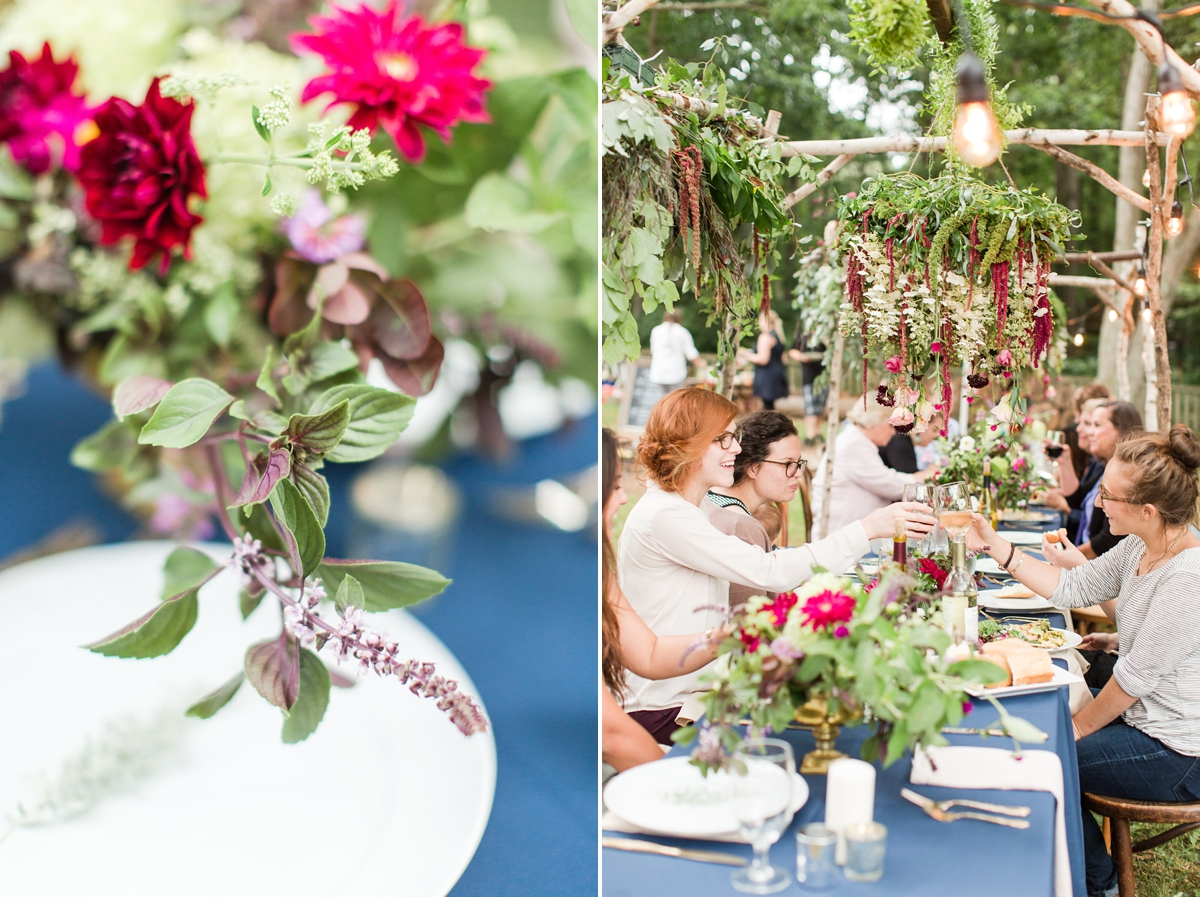 outdoor dinner under the stars with floral chandelier_5672