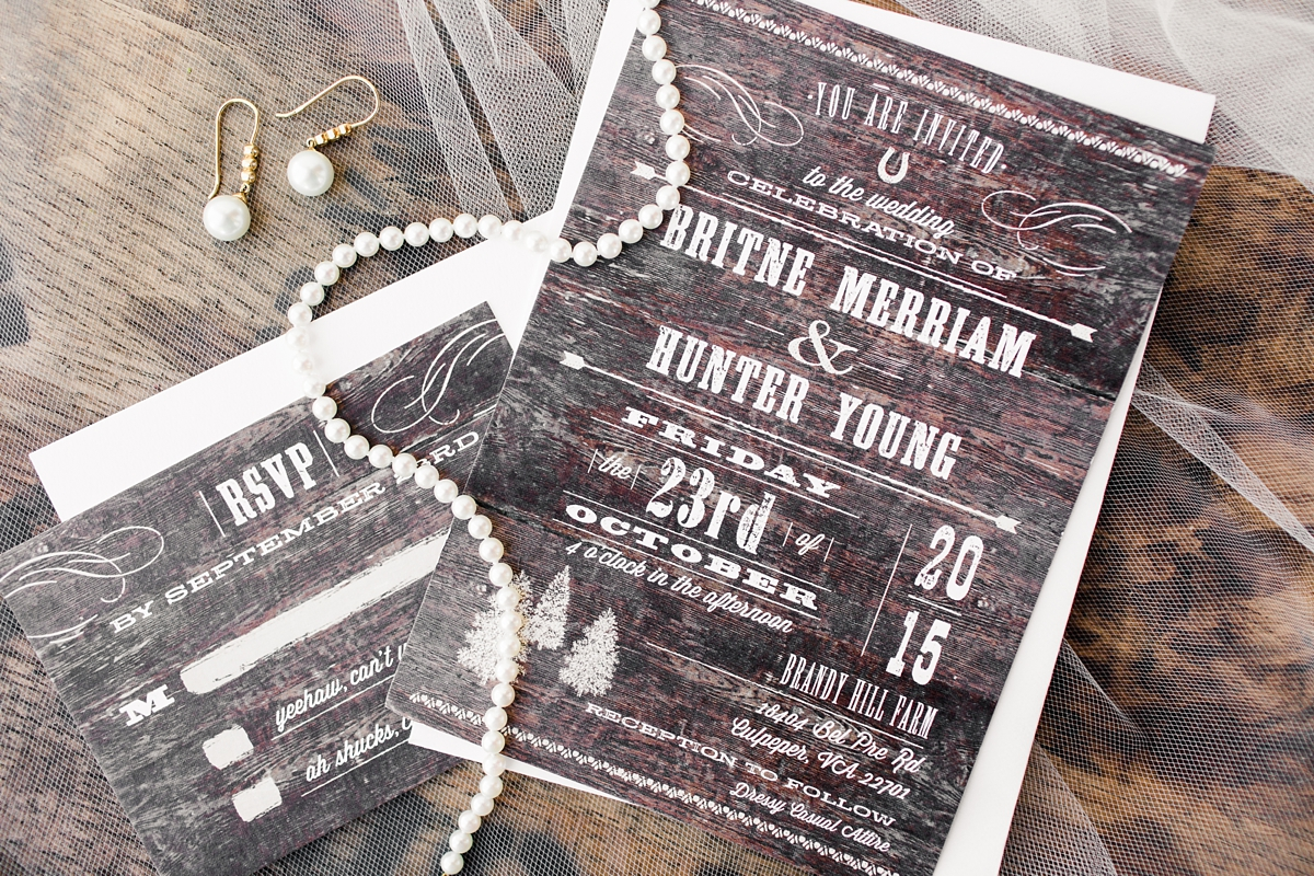 Rustic Wood Wedding invitations! Brandy Hill Farm Wedding in Culpeper, Virginia featuring accents of cranberry and gold! Photos by Katelyn James Photography