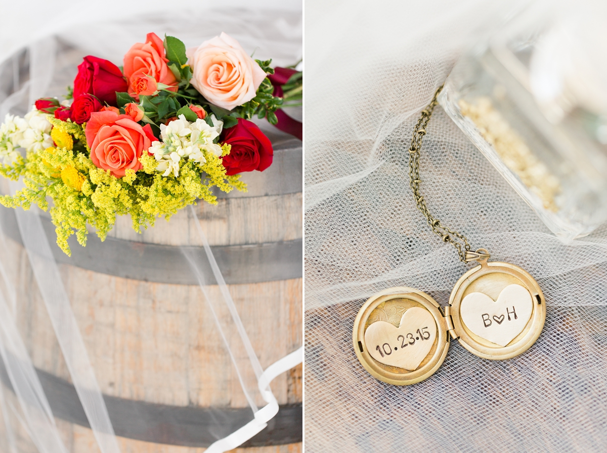 Gold engraved necklace locket with wedding date and initials. Wedding gift from bridesmaid to bride. A Rustic Brandy Hill Farm Wedding in Culpeper, Virginia featuring accents of cranberry and gold! Photos by Katelyn James Photography