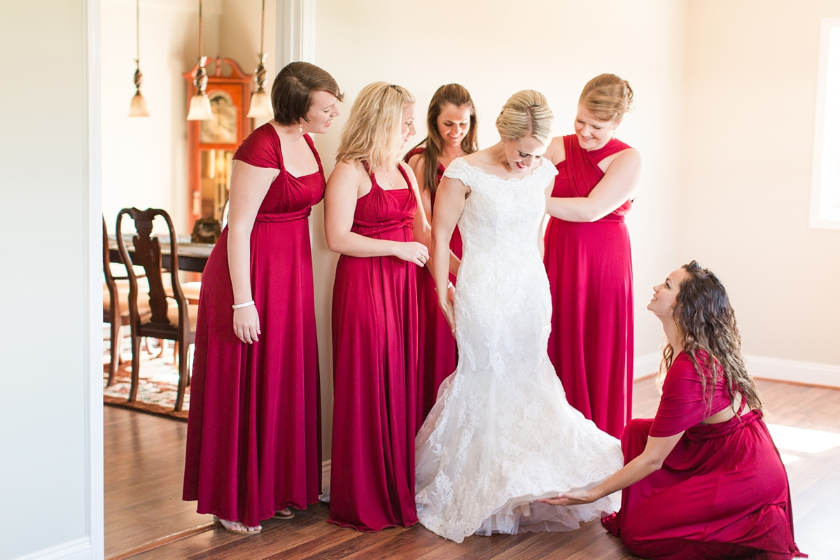 Cranberry Etsy Bridesmaid Wrap Dresses Worn 5 different ways! A Rustic Brandy Hill Farm Wedding in Culpeper, Virginia featuring accents of cranberry and gold! Photos by Katelyn James Photography