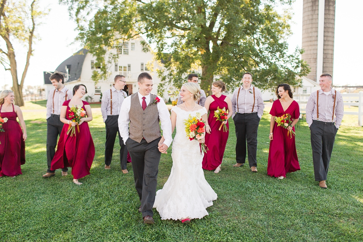 A Rustic Brandy Hill Farm Wedding in Culpeper, Virginia featuring accents of cranberry and gold! Photos by Katelyn James Photography
