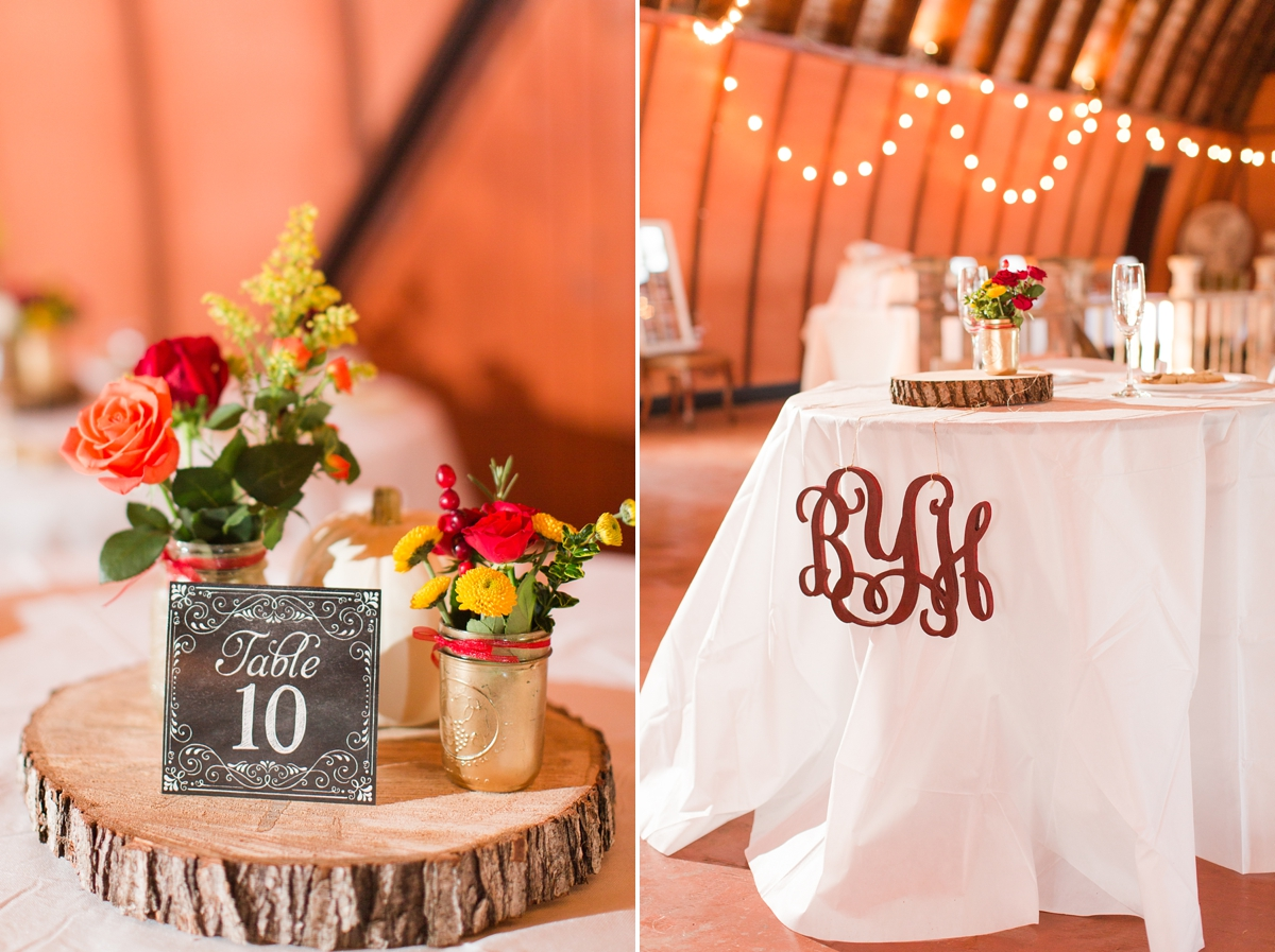 Rustic Fall Reception Centerpieces of mason jar flowers, white pumpkins and slices of wood! A Brandy Hill Farm Wedding in Culpeper, Virginia featuring accents of cranberry and gold! Photos by Katelyn James Photography