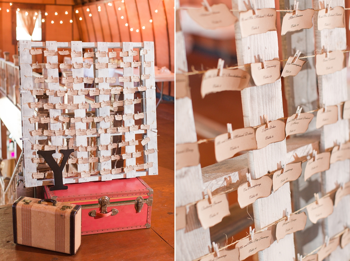 Pallet Place Setting Card Holder featuring burnt paper name cards. A Rustic Brandy Hill Farm Wedding in Culpeper, Virginia featuring accents of cranberry and gold! Photos by Katelyn James Photography