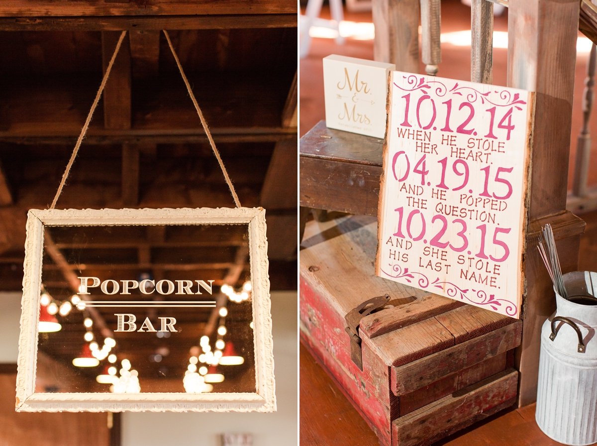 Affordable waay to do a cocktail hour! Popcorn Bar and Fruit Infused Water for Cocktail Hour!  A Rustic Brandy Hill Farm Wedding in Culpeper, Virginia featuring accents of cranberry and gold! Photos by Katelyn James Photography