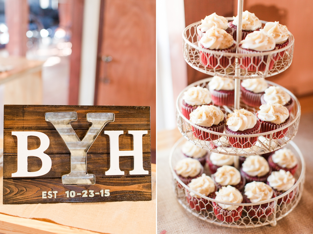 Rustic Handmade Monogramed Sign. A Rustic Brandy Hill Farm Wedding in Culpeper, Virginia featuring accents of cranberry and gold! Photos by Katelyn James Photography