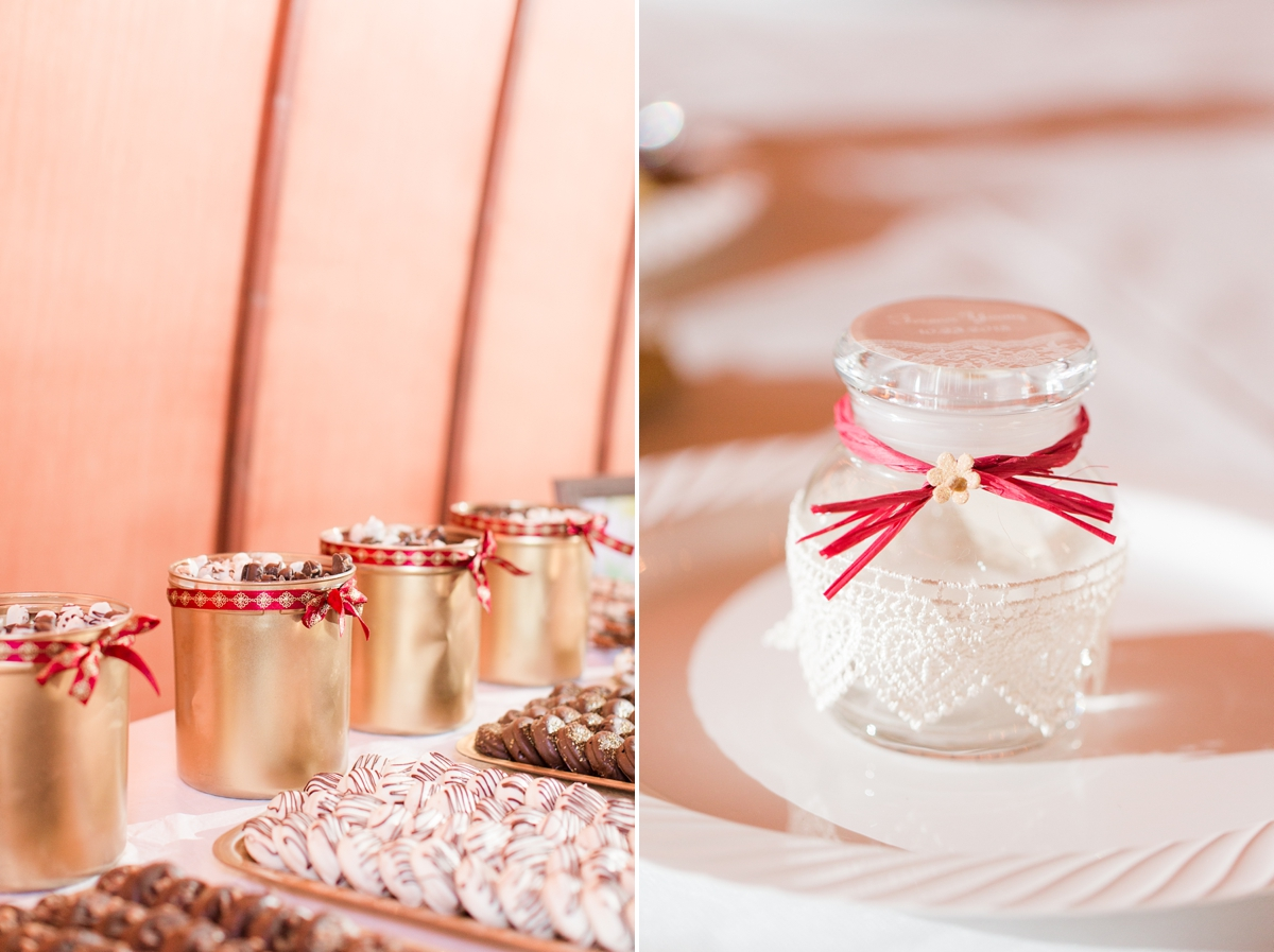 Handmade Wedding Favors, individualized candle jars. A Rustic Brandy Hill Farm Wedding in Culpeper, Virginia featuring accents of cranberry and gold! Photos by Katelyn James Photography