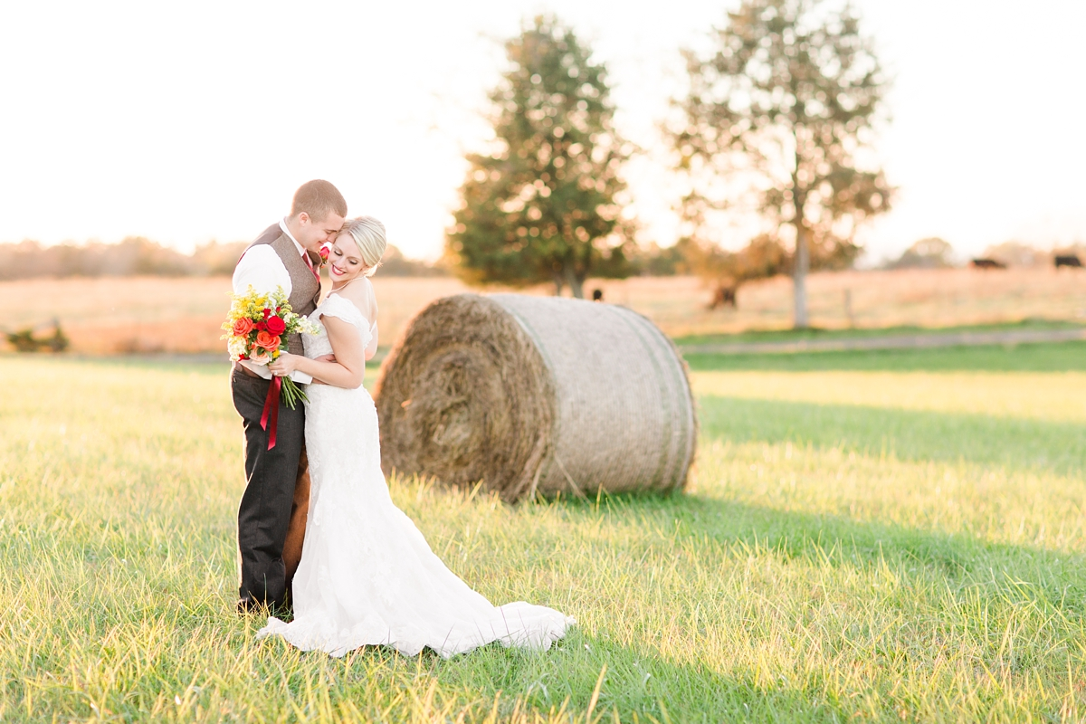 Evening Glow Bride and Groom Portraits. A Rustic Brandy Hill Farm Wedding in Culpeper, Virginia featuring accents of cranberry and gold! Photos by Katelyn James Photography