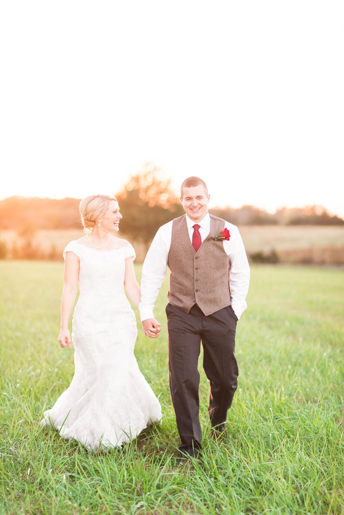 Perfect Evening Glow Bride and Groom Portraits. A Rustic Brandy Hill Farm Wedding in Culpeper, Virginia featuring accents of cranberry and gold! Photos by Katelyn James Photography